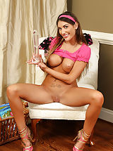 Hairy Pics: Busty August Ames Gaping Pussy for Cervix Shots