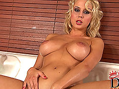littletits, Busty blonde babe Mandy Dee's bathroom striptease