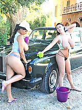 DDF Beauties, Kelley Scarlett & Leanne Crow washing car naked