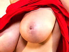 Hot Busty Movies, Kelly celebrates her B-day with a red dress and a cake which she spears all over her naked body.
