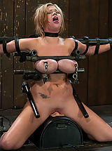 Kink, Big titted bitch bound on a sybian and made to cum over and over, metal breast bondage!