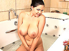 Young Busty Movies, Young busty babe Shione Cooper soloing in bathroom