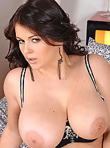 Beautiful busty babe Klenot toying her hot pussy