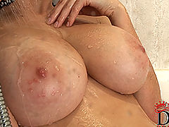 Busty Girls, Domenica shows huge wet naturals in the shower!