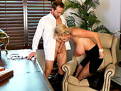Group Sex, Kelly uses her power in the office to suck one of her workers cocks