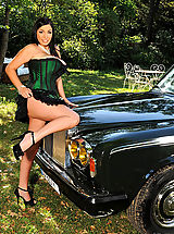 DDF Beauties, Busty Michelle Monaghan posing with a Rolls Royce outdoors