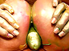 nice juggs, Kelly's paint gets all over her boobs so she slides her male model's cock between them.