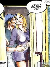 Comics, This blonde chick seems to always catch herself in the most sexual of situations. While talking to her boyfriend on the phone in a phone booth, a rude man approached her and demanded that she got off the phone. Not standing for his rudeness, she replied b