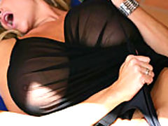 Black Busty Movies, Kelly wears a see thru top and begs to get fucked outside.