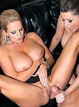 Kelly and Sara work eachother into a frenzy after playing with their natural tits and need a good fuck after all that titty play.
