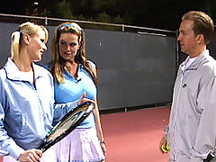 Content of Sharon Wild - My husband bought me tennis lessons and wow, was my instructor a hottie! Sharon was tall, blonde, and really good with a racket. She turned out to be just as good with my man's cock. Sharon, taught me how to hold my wrists...