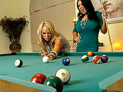 Kelly and Sienna play pool before Ryan jams his pool stick in their cunts