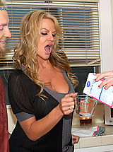 Kelly Madison and her husband drop by next door and fuck Jayden James in the kitchen.