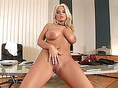 Babes Vids: Busty blonde secretary babe Ines Cudna strips nude for you