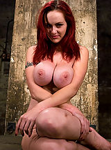 Naked Busty, HUGE breasted red head, gets bound and tormented, forced to cum