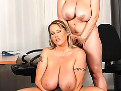 Hot Busty Movies, Busty lesbian office babes Joanna Bliss & Laura M toying
