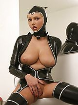 Big Busty, Hot Porn Star Hanna Hilton in a tight fitting latex outfit