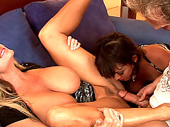 Young Busty Movies, Kelly and Sienna grab onto a big cock and shove it in each others pussies like it was their own dick.