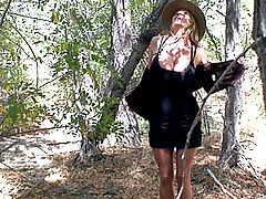 Bouncing Boobs, Kelly exposes her gigantic natural boobs on a nature walk and finds a guy to fuck outdoors.