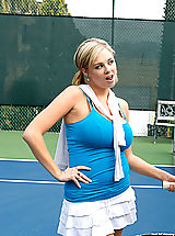 Naughty America, Katie shows off her tennis moves, then takes the game off court for some hot fucking action.