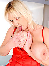 nice little tits, Kimi, Blonde cougar Kimi flaunts her big tits and plays with her pussy using her fingers