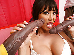 Big Cock, Ava Devine sucks and fucks 2 monster dicks!